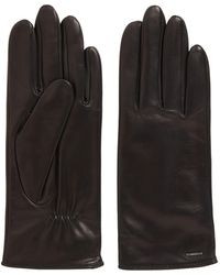 BOSS Elasticated Gloves In Nappa Leather With Logo Hardware - Black