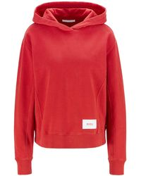 BOSS by HUGO BOSS Relaxed-fit Hoodie In French Terry With Logo Patch - Red