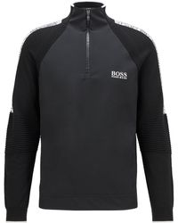 BOSS by HUGO BOSS Zip-neck Jumper In Stretch Fabric With Moisture Management - Black