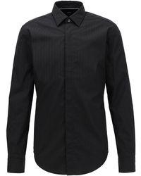 BOSS Chemise de soirée Slim Fit en coton avec rayures satinées - Noir