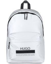 HUGO Manifesto-logo Backpack In Soft Nylon - Metallic
