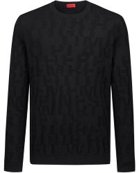 HUGO - Knitted Jumper In Cotton Jacquard With Slogan Design - Lyst