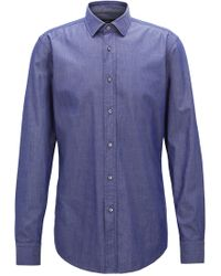 BOSS - Slim-fit Shirt In Denim-inspired Stretch Twill - Lyst
