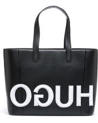 HUGO - Shopper Bag In Calf Leather With Patched Reverse Logo - Lyst