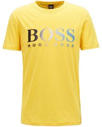 Best Prices For Sale Jersey T-shirt with dégradé flocked logo BOSS Newest Cheap Online Recommend Online Sale Amazing Price ic1kMCL