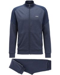 BOSS Regular-fit Tracksuit With Colour-blocking - Blue