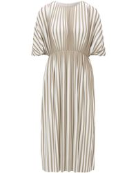 BOSS Empire-waist Dress In Two-tone Plissé Jersey - Multicolour