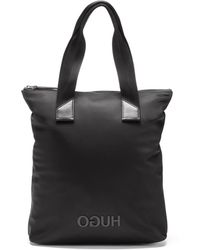 HUGO - Reversed-logo Shopper Bag In Nylon Gabardine - Lyst