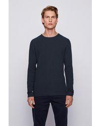 BOSS by HUGO BOSS T-shirt Slim Fit à manches longues en coton gaufré - Blanc