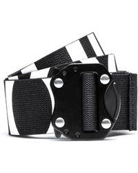 HUGO - Reverse-logo Belt In Italian Cotton With Gunmetal Closure - Lyst