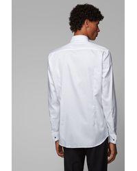 BOSS by HUGO BOSS Chemise Slim Fit en coton facile à repasser, à poignets mousquetaires - Blanc