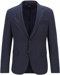 BOSS Slim-fit Jacket In Washable Checked Seersucker Fabric - Blue