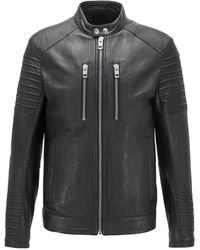 BOSS Slim-fit Biker Jacket In Waxed Leather - Black