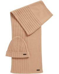 BOSS Ensemble bonnet et écharpe en pur cachemire - Neutre
