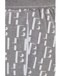 BOSS by Hugo Boss Conjunto de pijama regular fit de algodón con monograma estampado - Gris