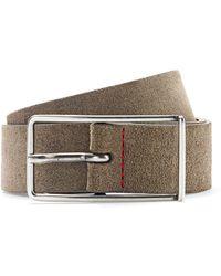 HUGO Slimline Pin-buckle Belt In Italian Suede - Multicolor