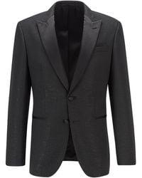 BOSS by HUGO BOSS Slim-Fit Smoking-Jacke aus Gewebe mit Glitzer-Effekt - Schwarz