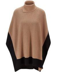 BOSS Colour-block Poncho In Virgin Wool - Multicolour