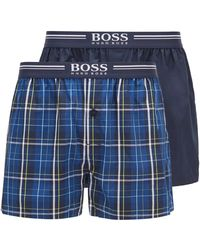 BOSS by Hugo Boss Two-pack Of Cotton Pyjama Shorts With Logo Waistbands - Blue