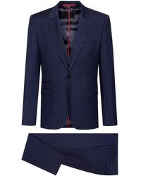 BOSS by Hugo Boss Extra Slim Fit Three Piece Suit In Patterned Wool - Blue
