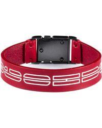 BOSS by Hugo Boss Italian Leather Cuff With New Season Logo Print - Red