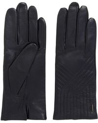 BOSS Lambskin Leather Gloves With Geometric Stitching - Blue