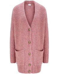 BOSS Relaxed-fit Cardigan With Drop Shoulder And V Neckline - Pink