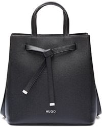 HUGO - Bucket Bag In Saffiano Leather With Drawstring Detail - Lyst