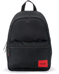 HUGO Rugtas Van Gerecycled Technisch Materiaal Met Rood Logolabel - Zwart