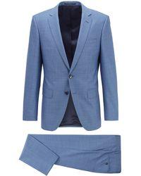 BOSS by HUGO BOSS Slim-Fit Anzug aus dezent gemusterter Schurwolle - Blau