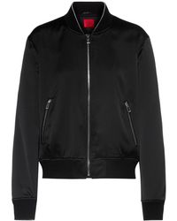 HUGO Relaxed-fit Bomber Jacket In Satin With Bear Artwork - Black