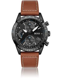 BOSS by HUGO BOSS Black-plated Chronograph Watch With Stitched Leather Strap