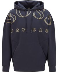 BOSS by Hugo Boss Relaxed-fit Hoodie In A Super-soft Cotton Blend - Blue