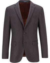 BOSS by HUGO BOSS Slim-fit Jacket In Wool-blend Bouclé - Brown