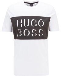 BOSS by HUGO BOSS Camiseta de cuello redondo en punto de algodón con un gran logo estampado - Negro