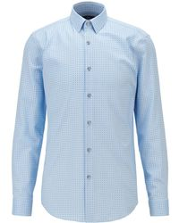 BOSS by HUGO BOSS Slim-Fit Hemd aus Oxford-Baumwolle mit zweifarbigem Muster - Blau