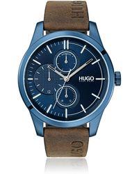 HUGO Orologio in acciaio inox placcato blu con cinturino con logo - Marrone