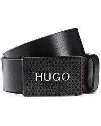 HUGO Riem Van Italiaans Leer Met Koppelsluiting Met Logo - Zwart
