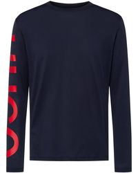 HUGO Relaxed-fit T-shirt In Cotton With Oversized Sleeve Logo - Blue