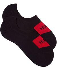 HUGO Lot de deux paires de chaussettes invisibles avec logo - Multicolore