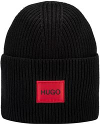 HUGO Uniseks Beanie Van Een Wolmix Met Rood Logolabel - Zwart