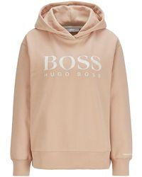 BOSS by HUGO BOSS Kapuzen-Sweatshirt aus French Terry mit Logo auf der Brust - Braun