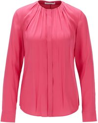 BOSS - Silk-blend Blouse With Gathered Neckline - Lyst