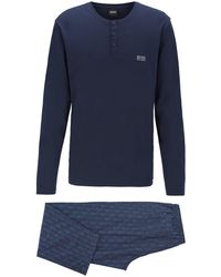 BOSS Gift-boxed Pyjama Set In Cotton With Logo Embroidery - Blue