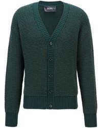 BOSS by HUGO BOSS Vest Van Een Zijdemix Met Een Combinatie Van Structuren - Groen