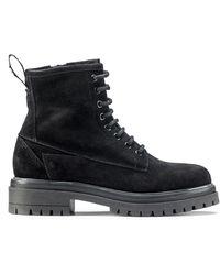 HUGO Italian-made Suede Boots With Lug Sole - Black