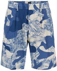 BOSS by HUGO BOSS Regular-Fit Shorts aus Stretch-Baumwolle mit saisonalem Print - Blau