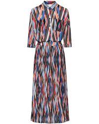 HUGO Midi Zigzag-printed Shirt Dress With Plissé Skirt Part - Multicolour