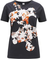 BOSS - Cotton Jersey T-shirt With Puzzle Print - Lyst