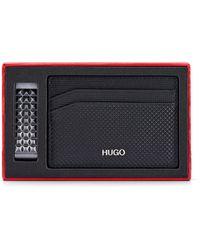 HUGO Geometric-embossed Card Holder And Money Clip Gift Set - Black